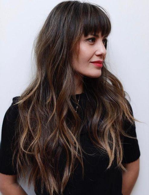 Long Messy Haircut with Bangs and Highlights