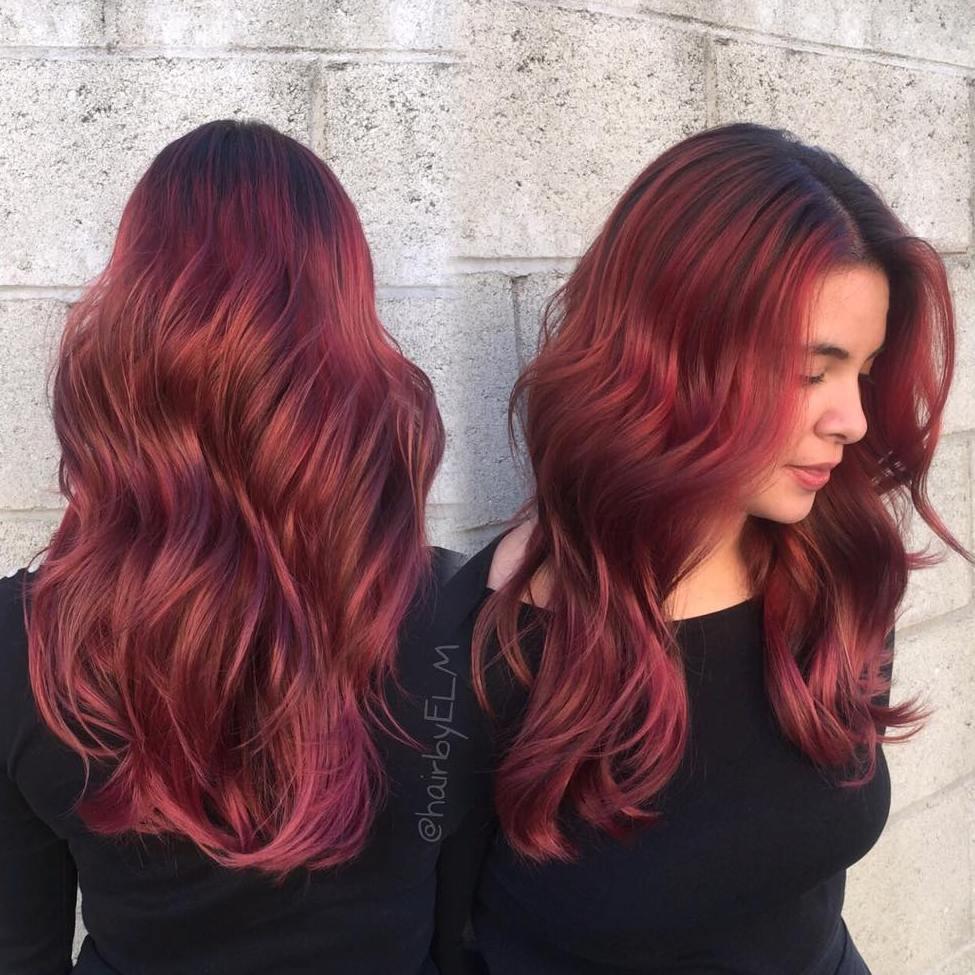 Long Scarlet Burgundy Curls
