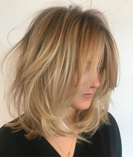 Long Tousled Lob with Root Fade