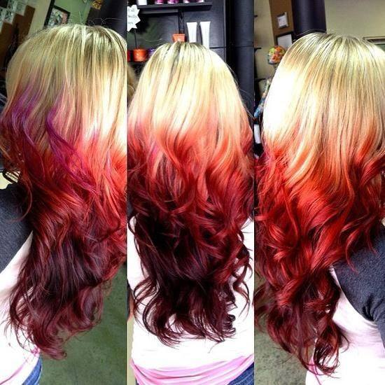 Long ombre red hairstyle with blonde top