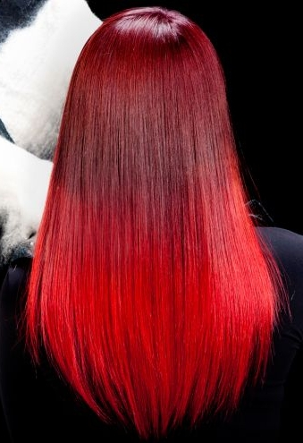 Long red ombre hairstyle