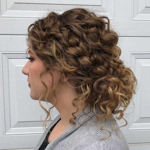 Low Curly Bun with Loose Curls