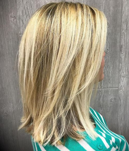 Medium Blonde Hairstyle with V cut Layers