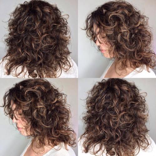 Medium Curly Brunette Shag with Babylights