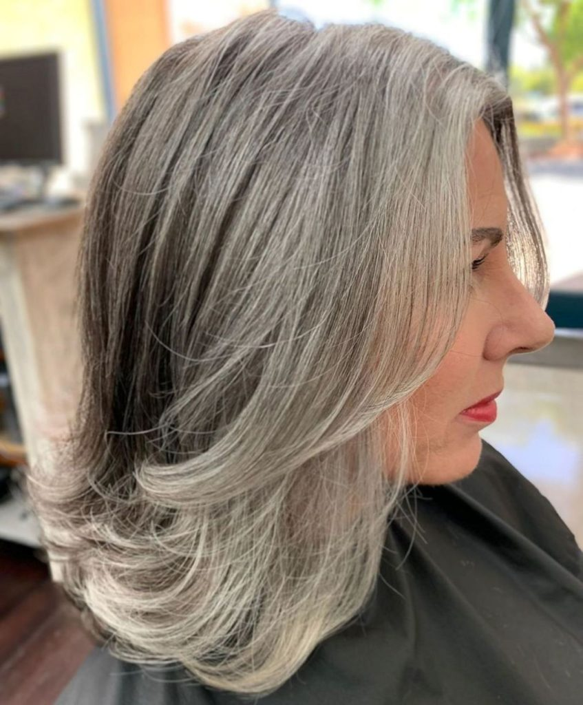 Medium Gray Hairstyle with Swoopy Layers
