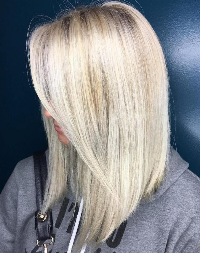 Medium Length Layered Blonde.