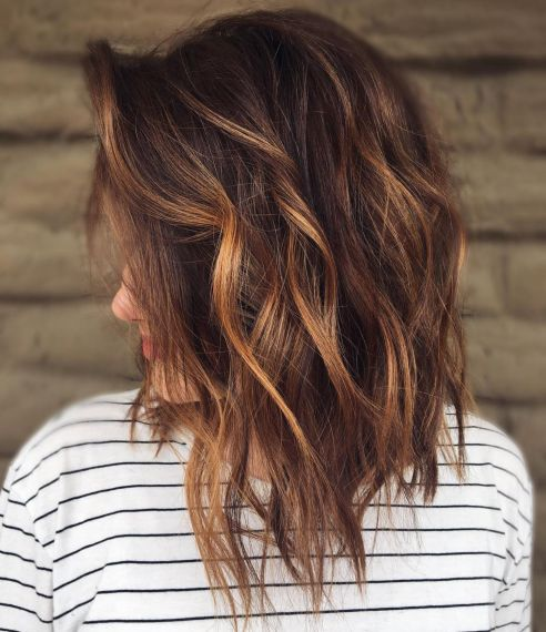 Messy Chocolate Lob with Caramel Highlights 2