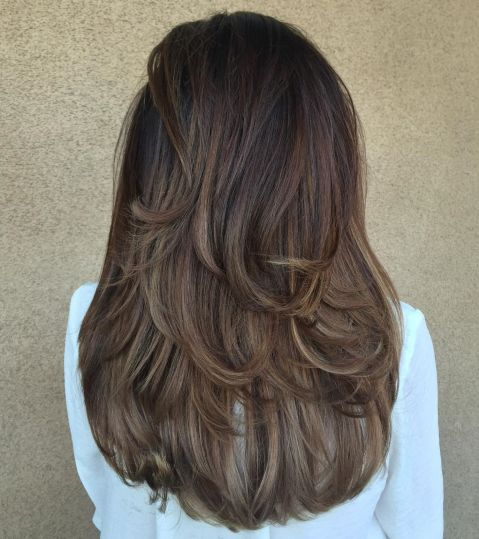 Mid Back Brown U Cut with Swoopy Layers 1
