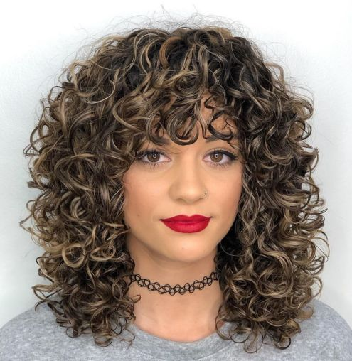 Mid Length Curly Hairstyle with Curly Bangs
