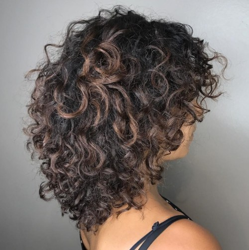 Mid Length Curly Layered Cut
