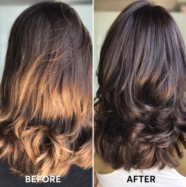Natural deep warm brown hair color with hints of gold.