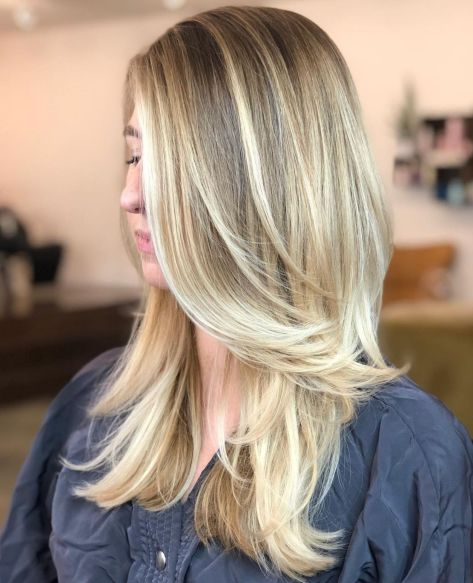 Past Shoulder Hair with Feathered Layers