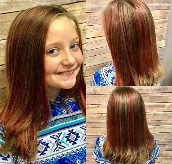 Pink Color Strip In Medium Length Hair