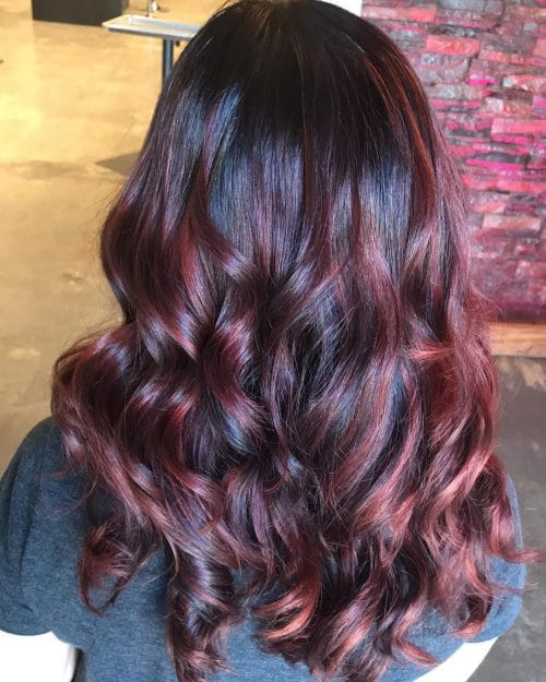 Red Highlights in Brunette Hair