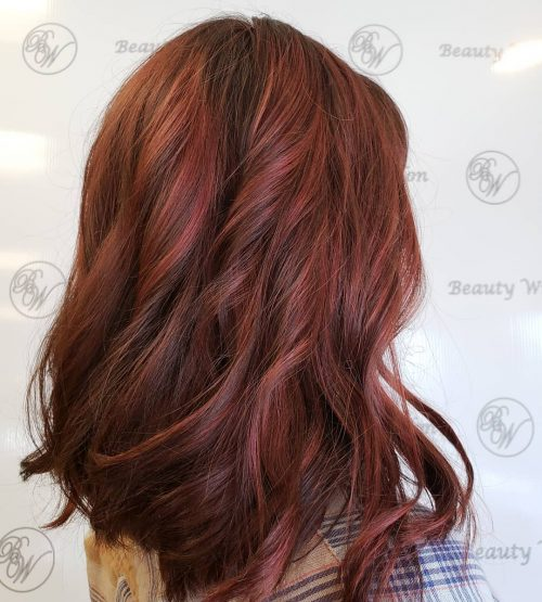 Red Highlights on Brown Hair