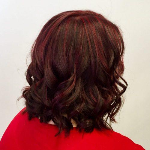 Red Highlights on Dark Brown Hair