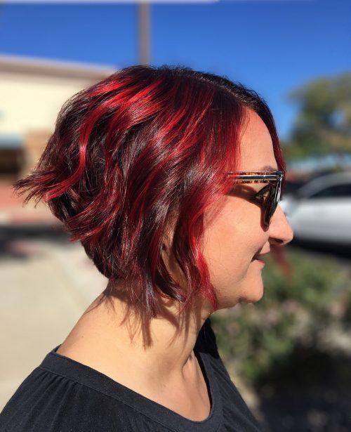 Red Highlights on Short Hair