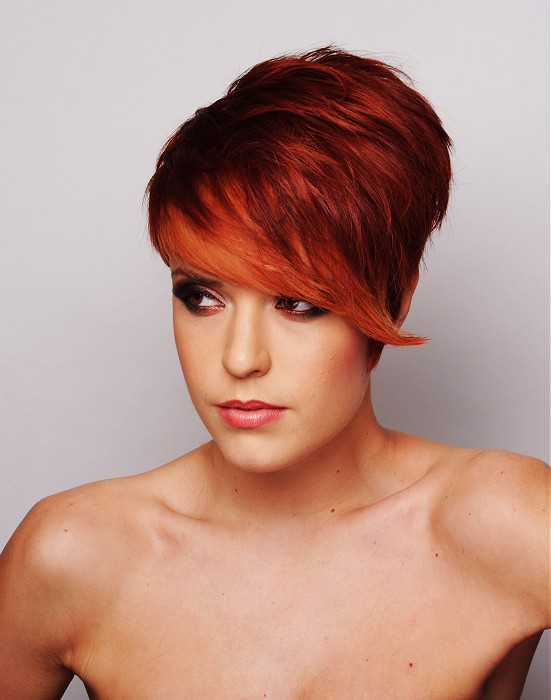 Red Pixie With Long Bangs