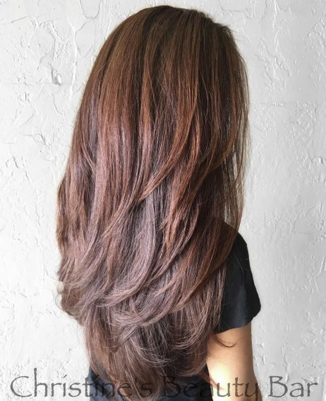 Reddish Brown Style with Long V Cut Layers 1