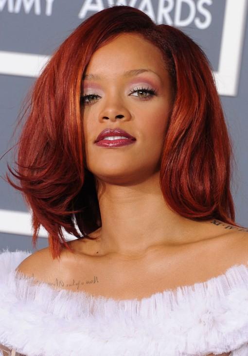 Rihanna Medium Cherry Red Hairstyle