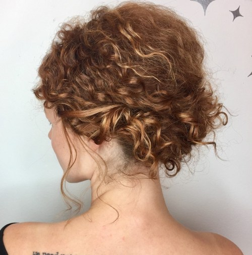 Romantic Pinned Updo for Shorter Curly Hair