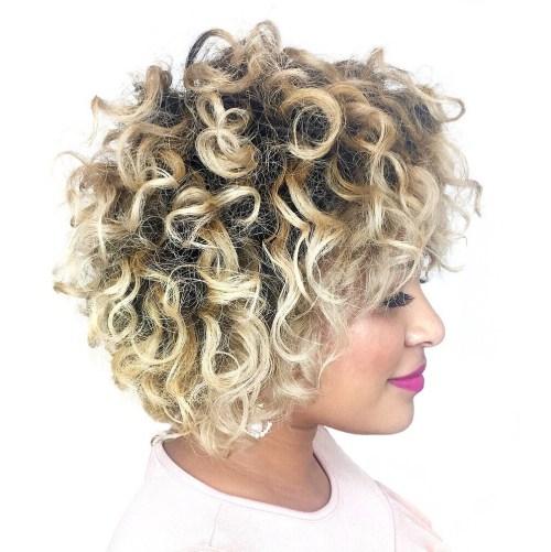 Short Blonde Balayage Hairstyle for Natural Hair