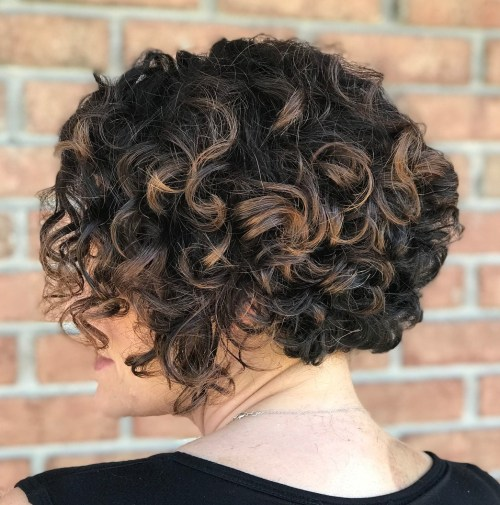 Short Curly Bob with Subtle Highlights