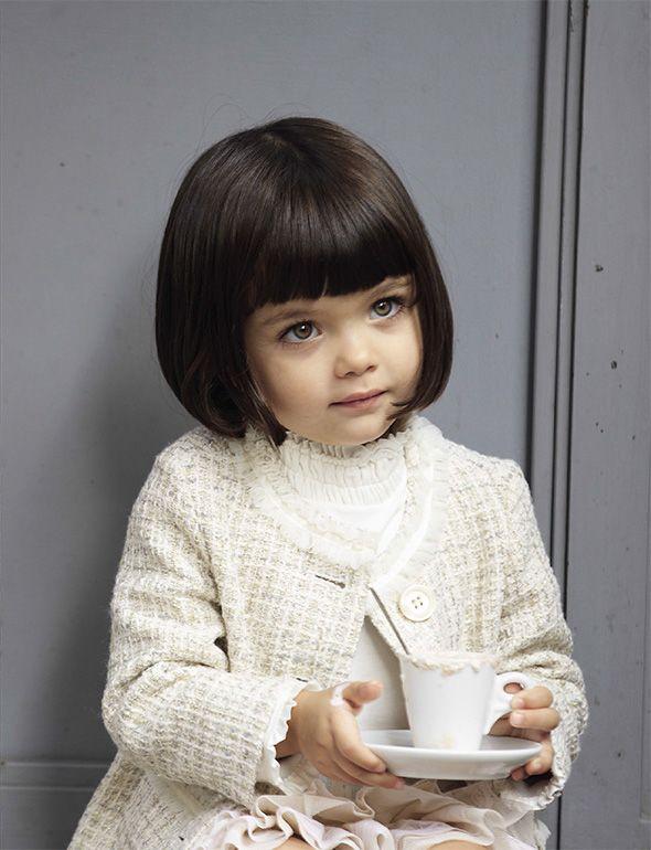 Short Cute Girl Kid Un petit carré frangé pour des cheveux 1