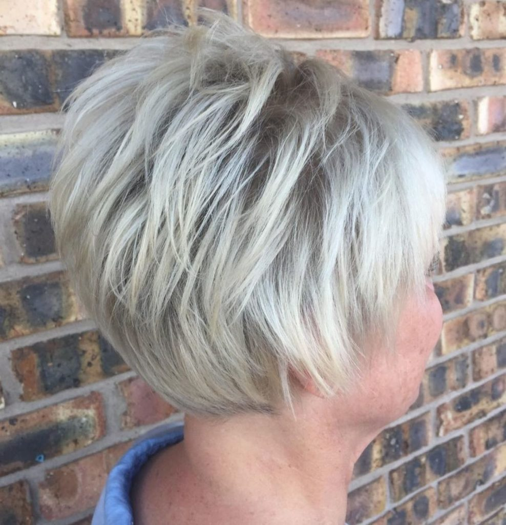 Short Feathered White Blonde Cut
