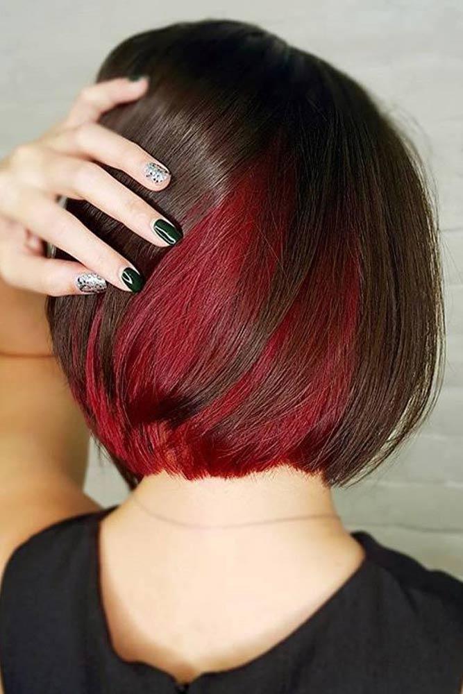 Short Funky Hairstyle For Women Burgundy Hair