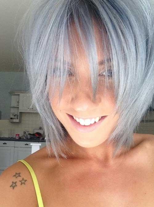 Short Gray Bob Hair with Long Bangs