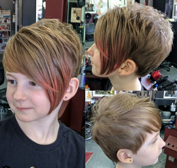Short Hair With Side Swept Color Bangs