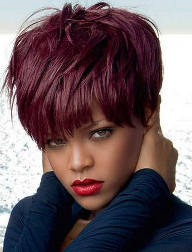 Short High Afro Ponytail Puff Burgundy Red