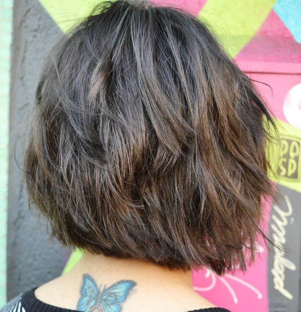 Short Layered Bob on Dark Hair