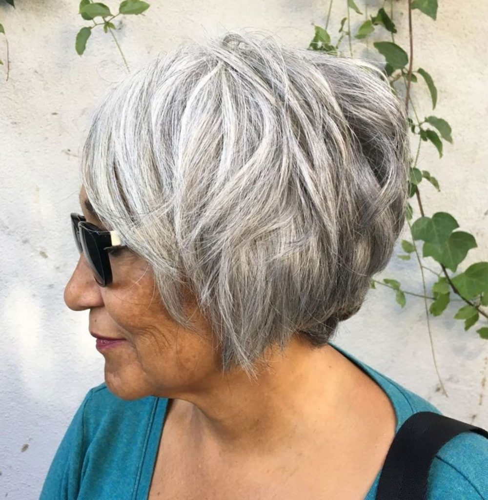 Short Layered Gray Bob for Older Women