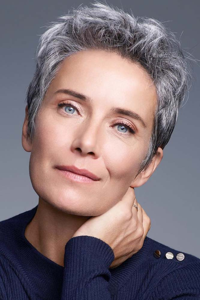 Short Messy Pixie For Woman Over 50