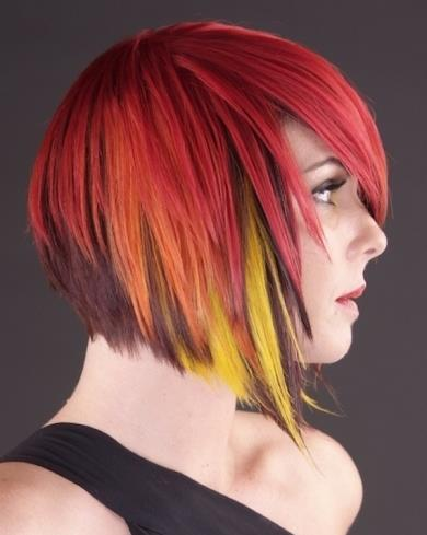 Short bob red hairstyle with yellow highlights