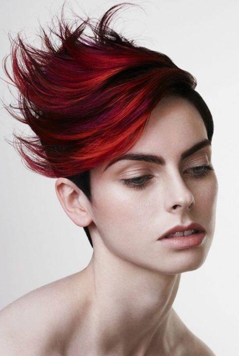 Short red modeled hair