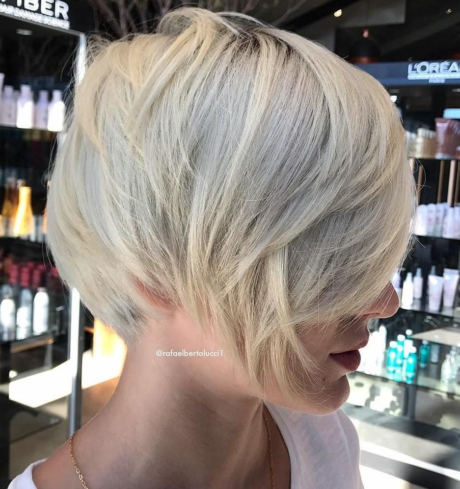 Sleek Layered Blonde Pixie Bob