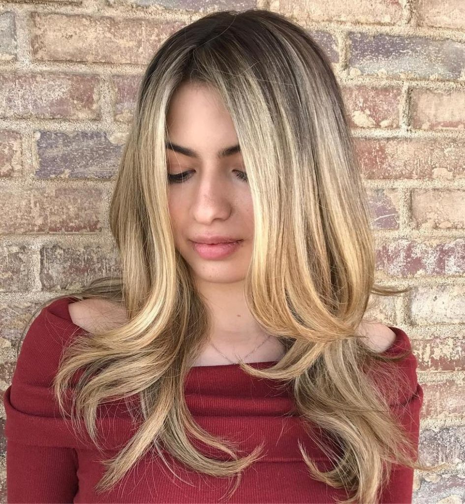 Sleek Straight Layers with a Center Part