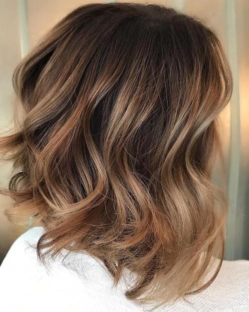 Soft Caramel Balayage for Dark Hair