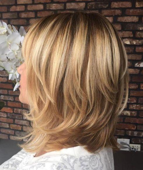 Softly Layered Caramel Blonde Lob