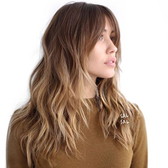 Sombre Hair with Long Light Bangs