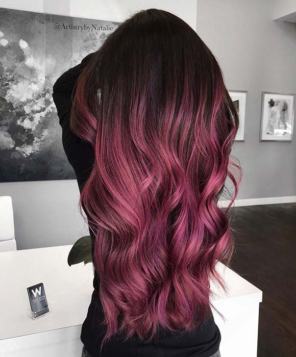 Super Long Burgundy Violet Hair
