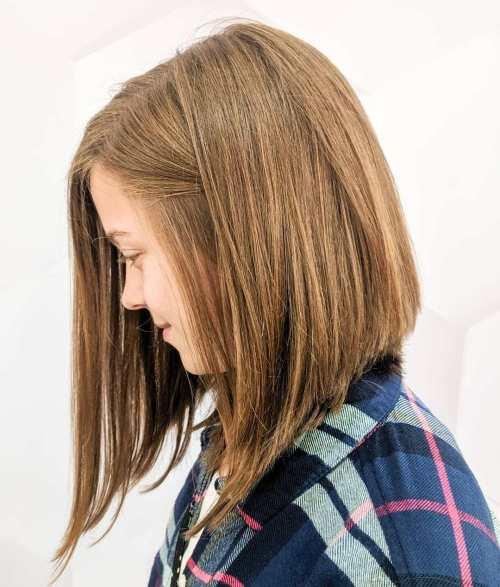 Sweet Angled Lob for Straight Hair
