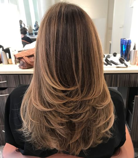 Swoopy Flipped Layers for Long Hair 1