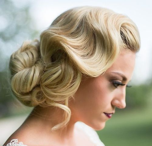 Vintage Updo with Buttery Texture for Long Hair