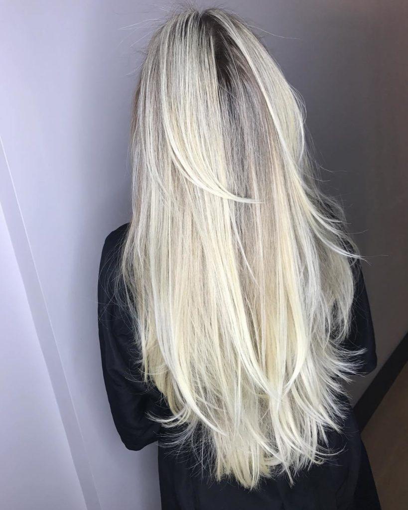 Waist Length Blonde Hair with Choppy Layers