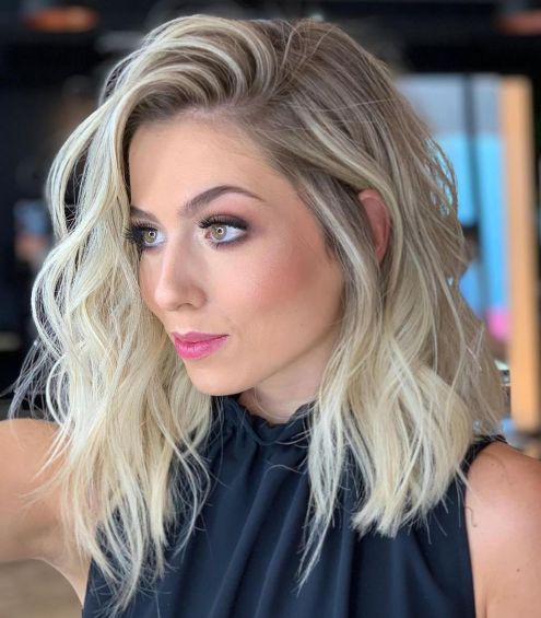 Wavy Angled Blonde Combover Lob