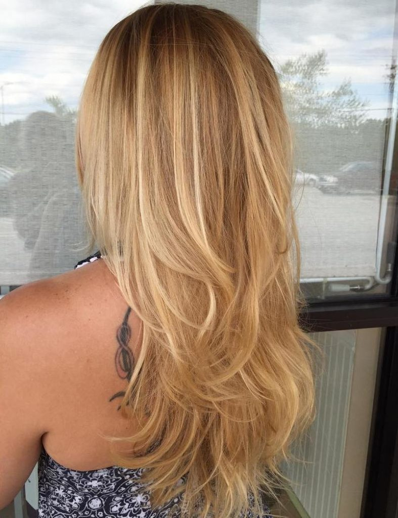 Wheat Blonde Long Layered Hair.
